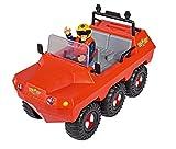 Simba 109251051 - Feuerwehrmann Sam Hydrus Amphibienfahrzeug, mit Sam Figur, schwimmt auf dem Wasser, 20cm, für Kinder ab 3 Jahren