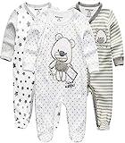 Kiddiezoom Baby Jungen Pyjama, eng-anliegend mit integrierten Schuhen, langarm, Baumwolle Gr. 6-9 Monate, Grauer Bär & Stern & gestreifter Bär