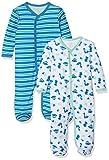 Care Baby-Jungen Schlafstrampler, 2er Pack, Grün (Jade Green 951), 3 Monate (Herstellergröße: 62 )