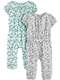 Simple Joys by Carter's Baby Mädchen 2er-Pack Jumpsuits ,Blue Hearts/Gray ,12 Months