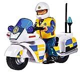 Simba 109251092 - Feuerwehrmann Sam Polizei Motorrad mit Figur / mit Polizist Malcom und Zubehör
